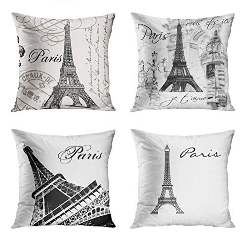 ArtSocket Set of 4 Throw Pillow Covers Eiffel Vintage Paris Tower Fleurdelis Postage Stamps Europe Collage French Black White Decorative Pillow Cases Home Decor Square 18x18 Inches Pillowcases
