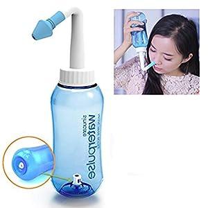 Botella de lavado nasal Yoga Nasal 300ml Botella Nariz Limpiador Botella Rhinitis alérgica Tratamiento Para Adultos & Niños- Botella para limpieza de nariz