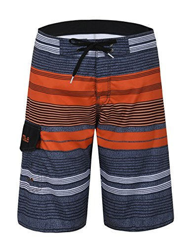 Nonwe Mens Stripe Quick Dry Board Shorts Orange Stripped 32 by Nonwe