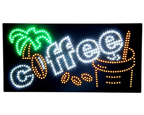 Espresso Outdoor Led Sign - HIDLY LED Coffee Cafe Espresso Open Light Sign Super Bright Electric Advertising Display Board for Message Business Shop Store Window Bedroom (27 x 15 inches)