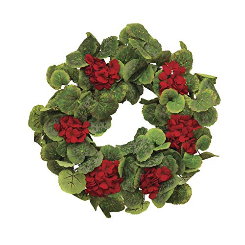 22 Inch Red Geranium Wreath on a Hand Tied Twig Base, Artificial Floral, Spring and Summer Front Door ()