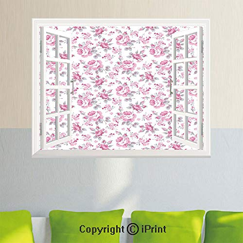 Simulation Window Stickers,Pink Roses with Grey Leaves Bedding Plants Spring Blossoms Decorative,27.5x23.6inch,Removable Wall Sticker,Home DecorLight Pink White Grey
