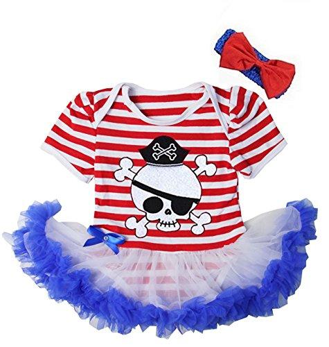 Kirei Sui Baby Red White Blue Stripes Pirate Bodysuit Tutu Headband X-Large White ()