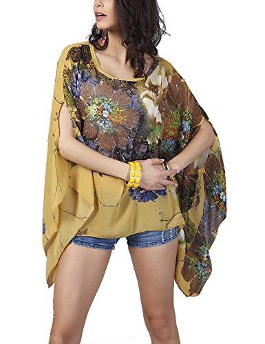 M Floreale 01 Stile Bagno Costumi Da Coprire Beachwear giallo D'estate Bikini Chiffon Del Spiaggia Donne Roaays Odw7Aqg5xO