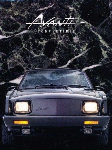 - 1990 1991 Avanti Convertible Original Car Sales Brochure Folder - Studebaker