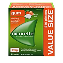 Nicorette Nicotine Gum, Quit Smoking and Smoking Cessation Aid, Fresh Fruit, 2mg, 210 pieces