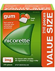 Nicorette Quit Smoking Aid, Nicotine Gum smoking cessation aid, Fresh Fruit, 2mg, 210 Pieces Value Size