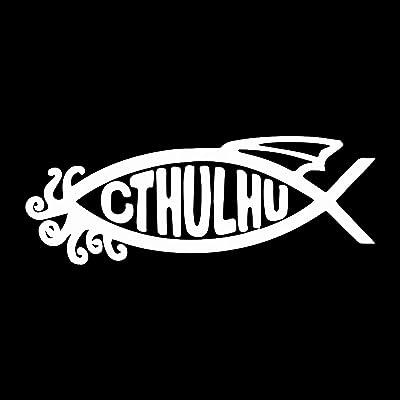 "EvolveFISH Cthulhu Fish Weatherproof Vinyl Decal - [White][5""]: Automotive"