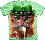 The Mountain 100% Cotton Big Face Irish Kitty T-Shirt (Green)