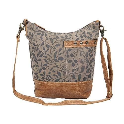 - Myra Bag Aloe Print Upcycled Canvas & Leather Shoulder Bag S-1305