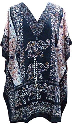 RiSi Women's Elephant Print Kaftan, Short V-Neck Top, Kimono Tunic Caftan One Size / Free Size Black (Kaftan Elephant)