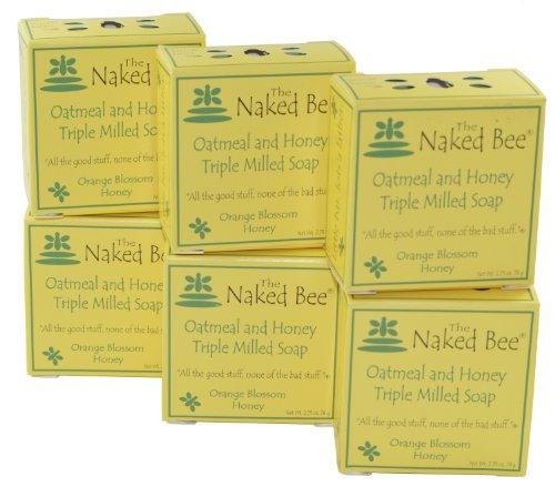 Naked Bee Moisturizing Orange Blossom Honey Oatmeal and Honey Triple Milled Soap 2.75 Oz Bar Pack of 6