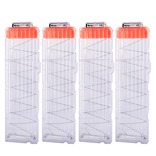 Magazine Clips, Yamix 4 Pack 18-Dart Quick Reload Clip Bullet Clips for nerf n strike elite blaster - Transparent