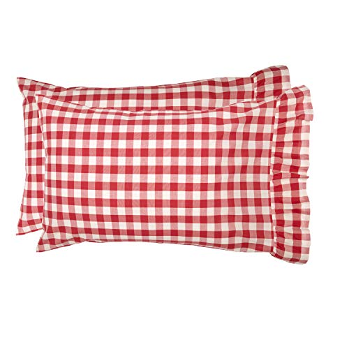 VHC Brands Farmhouse Bedding Annie Cotton Buffalo Check Standard Pillow Case Set of 2 Red Country