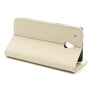 Cubierta de del bolso de la caja rosada del del negocio del caso del tirón del caso del soporte para HTC One mini / M4 - PREMIUM LIBRO beige, de color marrón claro
