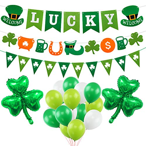 St Patrick's Day Decoration Kit, Lucky Irish Shamrock Banner for St.Patrick's Day with 18 Inch Foil Shamrock Balloons 30 Latex Balloons -