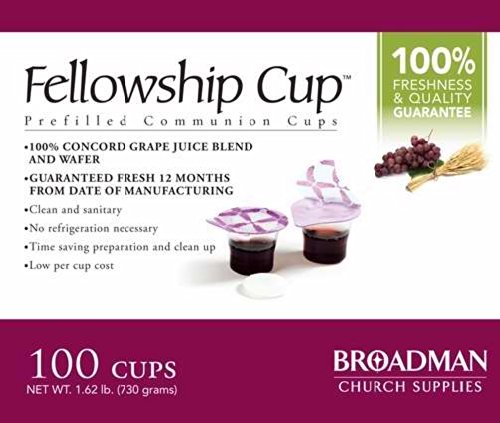 Communion Set - Fellowship cup,Prefilled communion cups juice/wafer-100 cups (net wt.1.62 lb) by BROADMAN CHURCH SUPPLIES