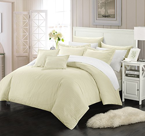 Perfect Home 7 Piece Kennon Down Alternative Jacquard Striped Comforter Set, Bedding Basics, Full/Queen, Beige  jacquard bedding set 7 pieces | Northern Nights Jacquard Reversible 6 or 7 Piece Comforter Set on QVC 51cyBKBhoAL