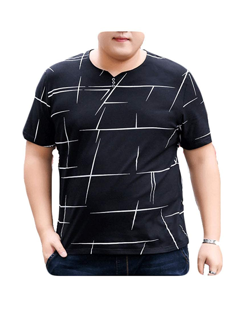 TingW Men Casual Loose T-Shirt Short Sleeve Round Collar Stripe Large Size T-Shirt