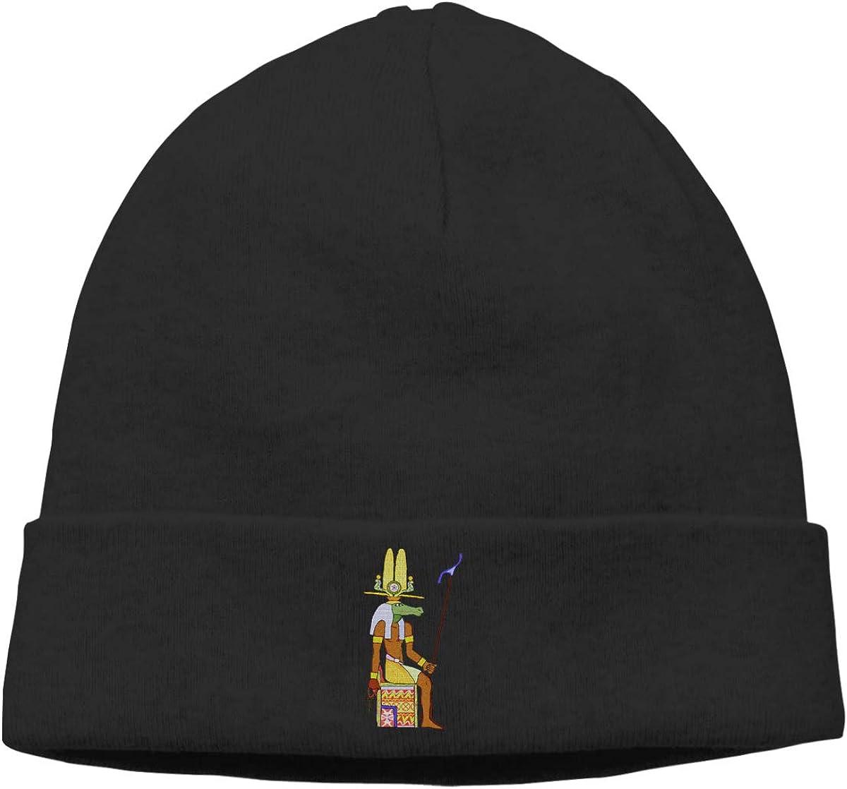 Riokk az Sobek Crocodile Fertility God Knit Caps Beanie Hat Skull for Men Black