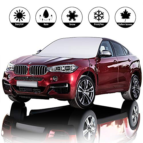 LinGear Windshield Snow Cover, Car Windshield Sun Shade with Mirror Protective Covers【Double Side for Winter & Summer】 Block Snow/Rain/Frost/UV, Fits for Most Cars(X-Large 81x59)