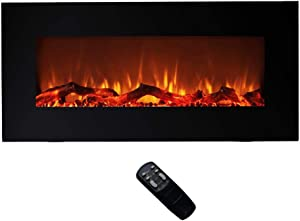 FLAME&SHADE Electric Fireplace Heater - Wall Mounted or Freestanding - Width 42in