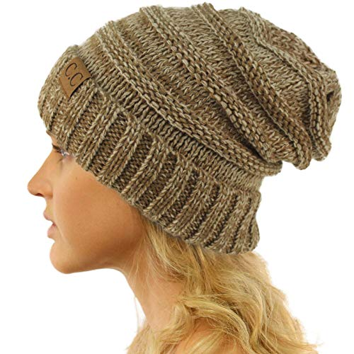 Winter Trendy Warm Oversized Chunky Baggy Stretchy Slouchy Skully Beanie Hat Mix Taupe