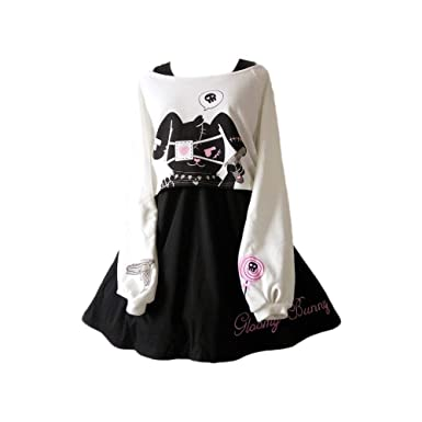 Girls Dresses Kawaii Rabbit Print 2 Pieces Japanese Fancy Dress Black White  Cotton e88a05339c4