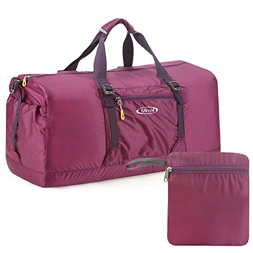 G4Free 60L Lightweight Foldable Portable Travel Duffel Bag for Gym Sports Luggage Camping(Purple) ()