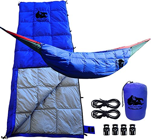 Chill Gorilla 30°F Down UNDERQUILT, Sleeping Bag, POD System for Hammock & More. Ultralight 5 in 1 Keeps You Warmer, Saves Space & Versatile. Backpacking & Survival Gear. Camping Accessories. Blue by Chill Gorilla
