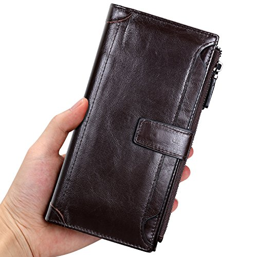 Genuine Leather Cell Phone Case - Mens Genuine Long Leather Wallet Large Capacity Phone Card Slot Case - Brown