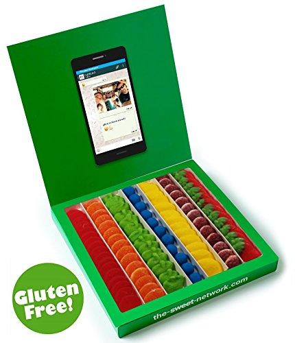 Caja tipo Whatsapp 23x23cm con mensaje personalizado, su interior contiene 750g de golosinas Rainbow: Amazon.es: Alimentación y bebidas