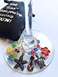 Hawaiian/Tropical Wine Glass Charms (Tags/Markers), Hand Painted- Sateen Storage Bag Included - Set of 6