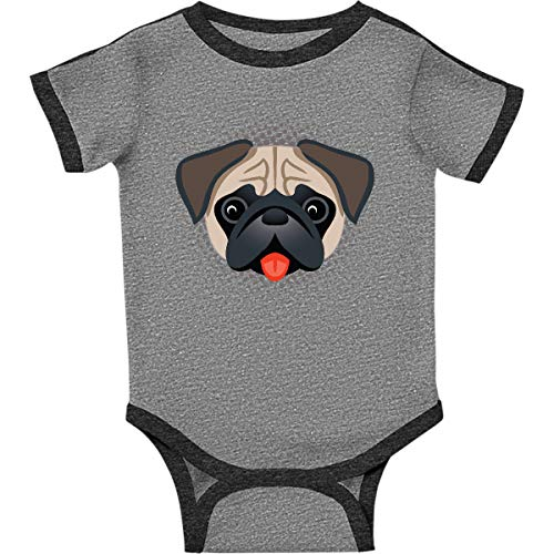(inktastic - Cute Pug Infant Creeper 6 Months Ringer Heather and Smoke 313a5)