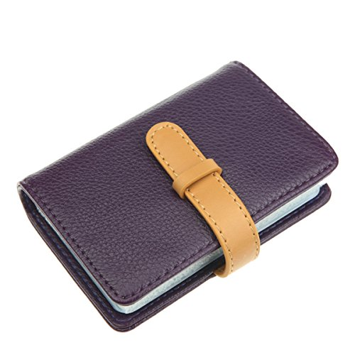 it Card Holder with 26 Card Slots - Book Style - Size 4.2 X 3 X 0.7 Inches (Purple) (Mens Credit Card Holder)