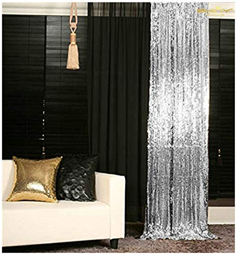 (Sequin Curtains 2 Panels 2FTx8FT Silver Glitter Backdrop Silver Sequin Photo Backdrop Wedding Pics)