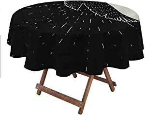 """carmaxsHome Round Table Cloth Raven for Patio Picnic Camping Spring Summer Vintage Artistic Composition 60"""" Round"""