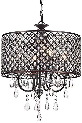 Edvivi Marya 4 Lights Oil Rubbed Bronze Round Crystal Chandelier Ceiling Fixture Beaded Drum Shade Glam Lighting Amazon Com