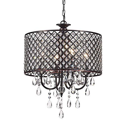 Edvivi Marya 4-Lights Oil Rubbed Bronze Round Crystal Chandelier Ceiling Fixture | Beaded Drum Shade | Glam Lighting (Bronze 7 Light Chandelier)