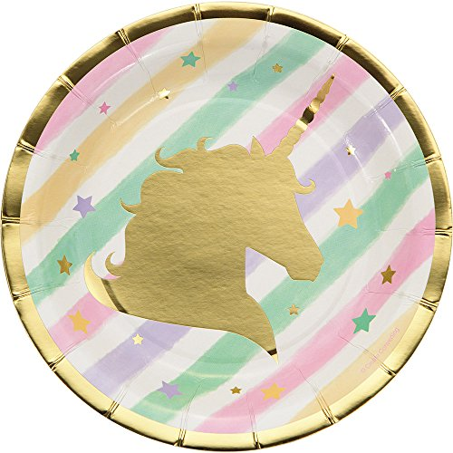 Creative Converting 329410 Unicorn Sparkle 96-Count Small/Dessert Paper Plates