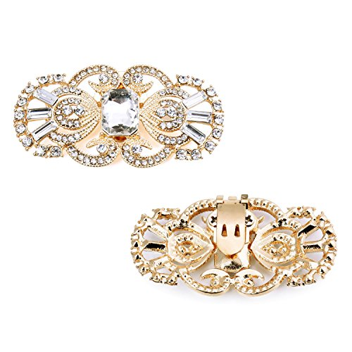 Clips 2 Diseño máscara dorado Pcs de la de antigua Zapatos ElegantPark Decoración Boda Rhinestones Fiesta qEnR8dRa