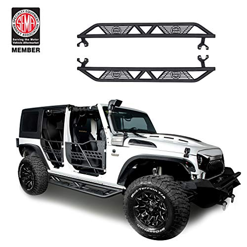 u-Box Jeep Wrangler Side Step Armor for 2007-2018 Jeep Wrangler Unlimited 4 Door Blade Nerf Bars Running Boards Rock Sliders Rail Step