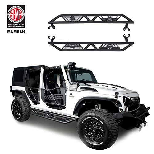 (JK Side Steps Off Road Nerf Bars Running Board for 2007-2018 Jeep Wrangler JK Unlimited 4-Door)