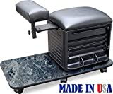 2317-HF BM Salon Spa Pedicure Nail Station Stool w/Footrest Made in USA by Dina Meri For Sale