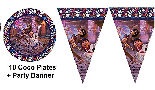 Gallmark Coco Movie Party Plates Cake Plus Banner Flags Birthday Day of Death Dia De Muertos Decoration - 11 PC]()