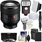 Sony Alpha E-Mount FE 85mm f/1.4 GM Lens + Battery & Charger + Flash/LED Light + Diffusers + Softbox + 3 Filters Kit A7, A7R, A7S Mark II Cameras