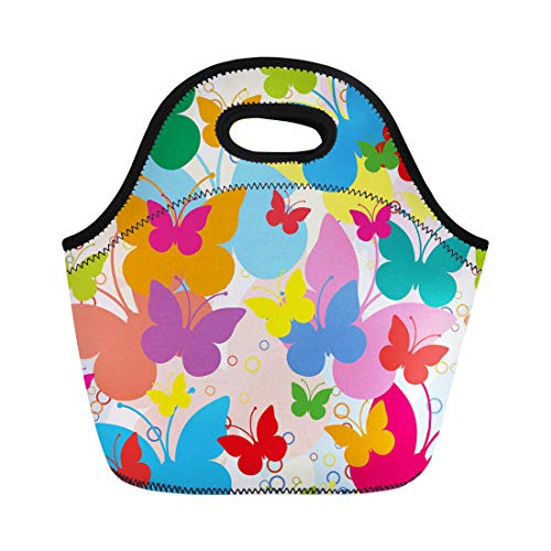 Semtomn Neoprene Lunch Tote Bag Blue Girly Vivid Butterflies Colorful Butterfly Summer Holliday Animal Reusable Cooler Bags Insulated Thermal Picnic Handbag for Travel,School,Outdoors,Work ()