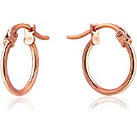 Sterling Silver Thin Lightweight Small Round Tube Hoop Earrings, 12mm-15mm