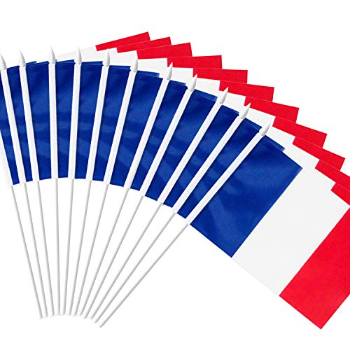 Anley France Stick Flag, French 5x8 inch Handheld Mini Flag with 12