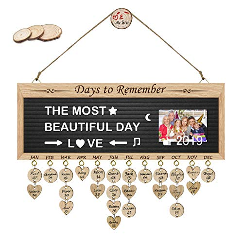 ElekFX Gifts for Women/Moms Grandma Gift- Pure Wooden Days to Remember Tracker Organizer Board Wall Hanging with Letter Board, DIY Calendar Plaque with Tags for Wall Decor-Personalized Birthday Gift]()
